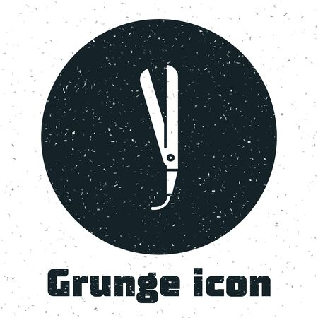 Grunge Curling iron for hair icon isolated on white background. Hair straightener icon.  Vector Illustration