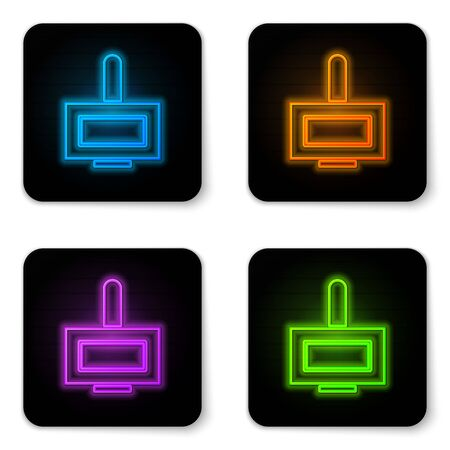 Glowing neon Nail polish bottle icon isolated on white background. Black square button. Vector Illustration Ilustracja