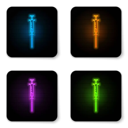 Glowing neon Syringe icon isolated on white background. Syringe for vaccine, vaccination, injection, flu shot. Medical equipment. Black square button. Vector Illustration Ilustração