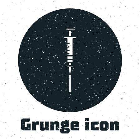Grunge Syringe icon isolated on white background. Syringe for vaccine, vaccination, injection, flu shot. Medical equipment. Vector Illustration