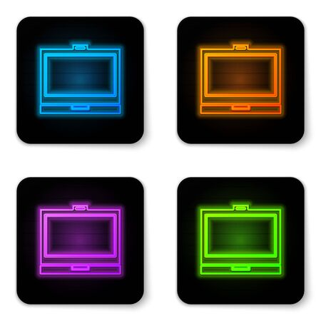 Glowing neon Makeup powder with mirror icon isolated on white background. Black square button. Vector Illustration