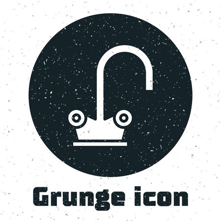 Grunge Water tap icon isolated on white background.  Vector Illustration