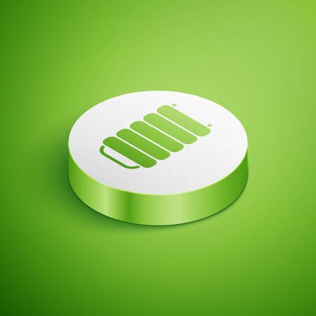 Isometric Heating radiator icon isolated on green background. White circle button. Vector Illustration