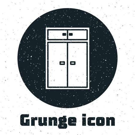Grunge Wardrobe icon isolated on white background. Vector Illustration