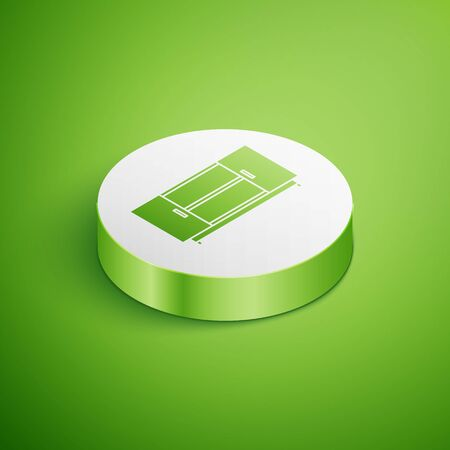 Isometric TV table stand icon isolated on green background. White circle button. Vector Illustration
