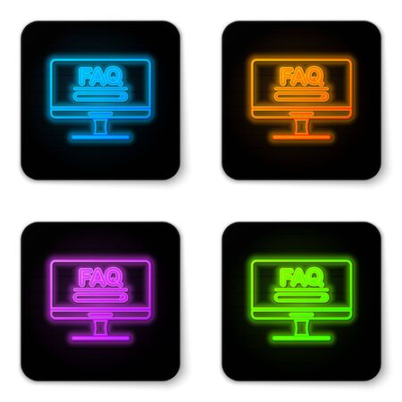 Glowing neon Computer monitor with text FAQ information icon isolated on white background. Frequently asked questions. Black square button. Vector Illustration