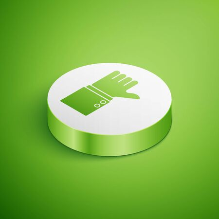 Isometric Dislike icon isolated on green background. White circle button. Vector Illustration
