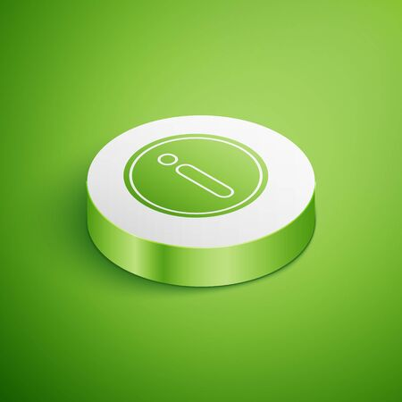 Isometric Information icon isolated on green background. White circle button. Vector Illustration