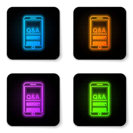 Glowing neon Mobile phone with Question and Exclamation icon isolated on white background. Frequently asked questions. Black square button. Vector Illustration