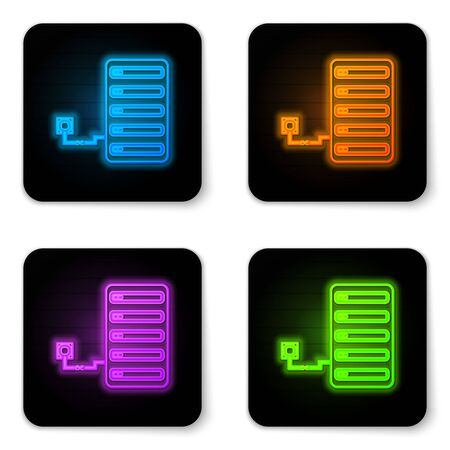 Glowing neon Server icon isolated on white background. Adjusting app, service concept, setting options, maintenance, repair, fixing. Black square button. Vector Illustration