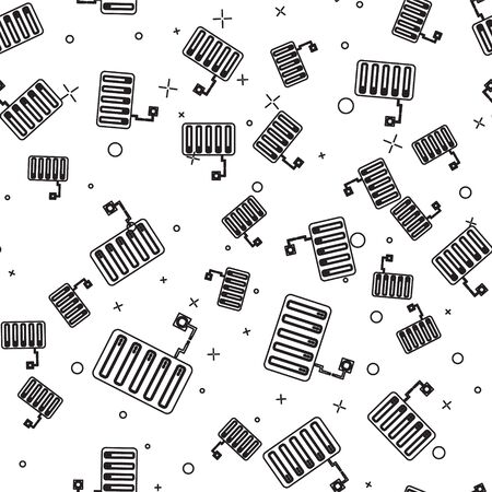 Black line Server icon isolated seamless pattern on white background. Adjusting app, service concept, setting options, maintenance, repair, fixing. Vector Illustration
