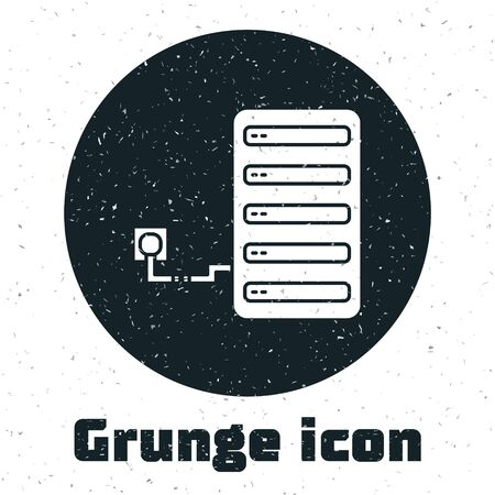 Grunge Server icon isolated on white background. Adjusting app, service concept, setting options, maintenance, repair, fixing. Vector Illustration Ilustración de vector