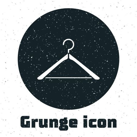 Grunge Hanger wardrobe icon isolated on white background. Cloakroom icon. Clothes service symbol. Laundry hanger sign. Vector Illustration