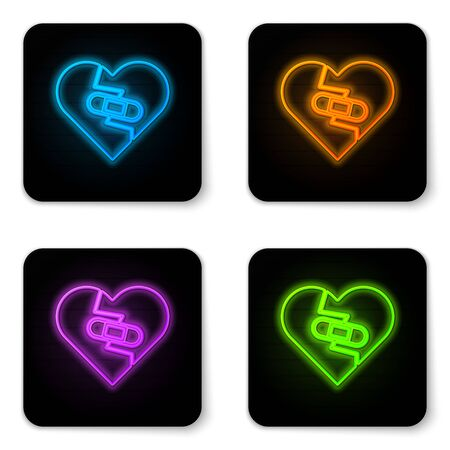 Glowing neon Healed broken heart or divorce icon isolated on white background. Shattered and patched heart. Love symbol. Valentines day. Black square button. Vector Illustration Illustration