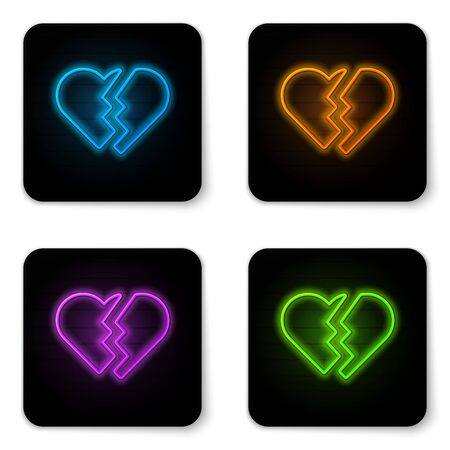Glowing neon Broken heart or divorce icon isolated on white background. Love symbol. Valentines day. Black square button. Vector Illustration Иллюстрация