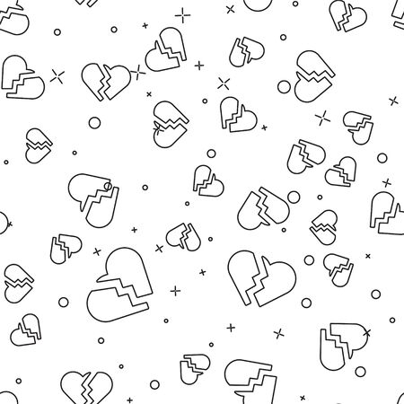 Black line Broken heart or divorce icon isolated seamless pattern on white background. Love symbol. Valentines day. Vector Illustration Иллюстрация