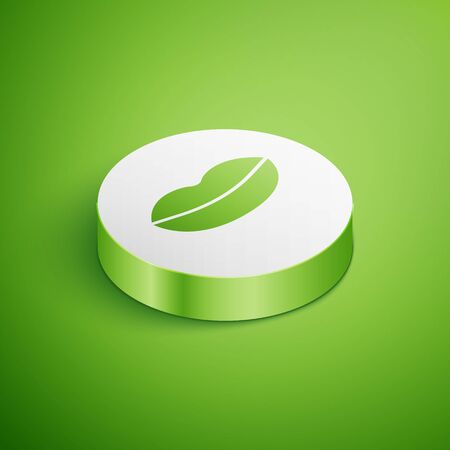 Isometric Smiling lips icon isolated on green background. Smile symbol. White circle button. Vector Illustration