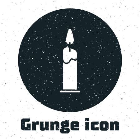 Grunge Burning candle in candlestick icon isolated on white background. Cylindrical candle stick with burning flame. Vector Illustration