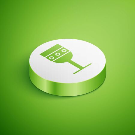 Isometric Medieval goblet icon isolated on green background. White circle button. Vector Illustration