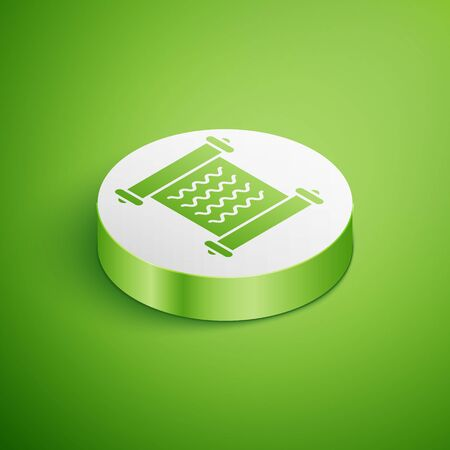 Isometric Decree, paper, parchment, scroll icon icon isolated on green background. White circle button. Vector Illustration Ilustração