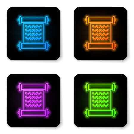 Glowing neon Decree, paper, parchment, scroll icon icon isolated on white background. Black square button. Vector Illustration