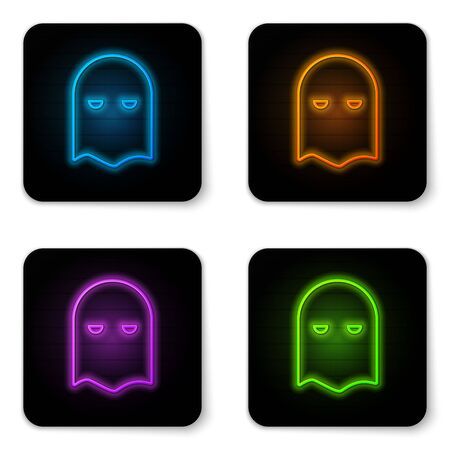 Glowing neon Executioner mask icon isolated on white background. Hangman, torturer, executor, tormentor, butcher, headsman icon. Black square button. Vector Illustration