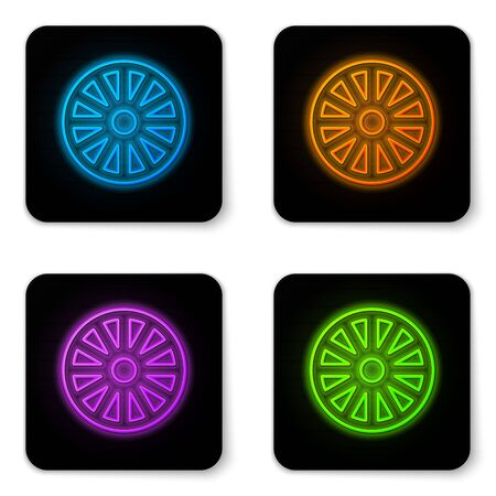 Glowing neon Old wooden wheel icon isolated on white background. Black square button. Vector Illustration Vettoriali
