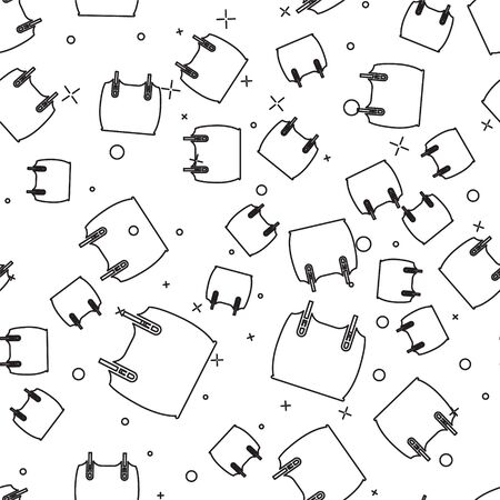 Black line Body armor icon isolated seamless pattern on white background. Vector Illustration Vector Illustratie