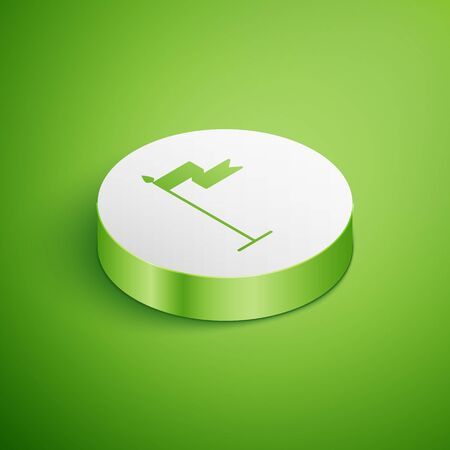 Isometric Medieval flag icon isolated on green background. Country, state, or territory ruled by a king or queen. White circle button. Vector Illustration