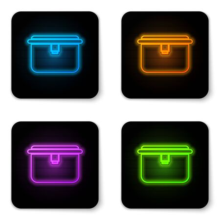 Glowing neon Lunch box icon isolated on white background. Black square button. Vector Illustration