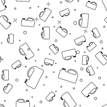 Black line Plastic canister for motor machine oil icon isolated seamless pattern on white background. Oil gallon. Oil change service and repair. Vector Illustration
