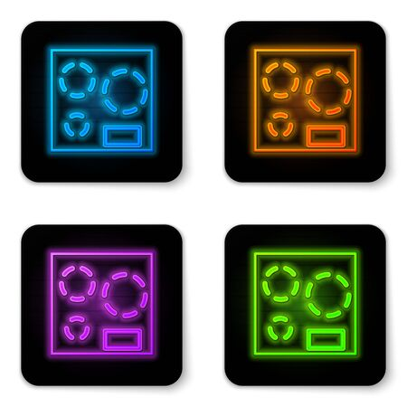 Glowing neon Electric stove icon isolated on white background. Cooktop sign. Hob with four circle burners. Black square button. Vector Illustration