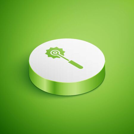 Isometric Pizza knife icon isolated on green background. Pizza cutter sign. Steel kitchenware equipment. White circle button. Vector Illustration