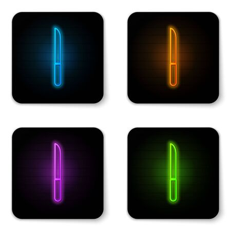 Glowing neon Knife icon isolated on white background. Cutlery symbol. Black square button. Vector Illustration