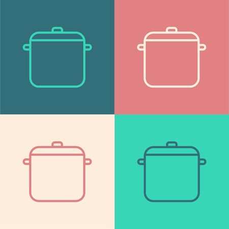 Color line Cooking pot icon isolated on color background. Boil or stew food symbol. Vector Illustration