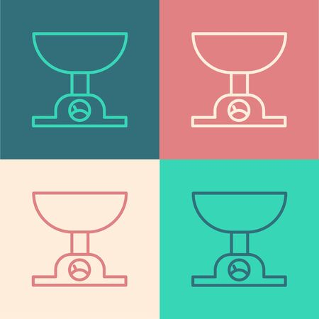 Color line Electronic scales icon isolated on color background. Weight measure equipment. Vector Illustration
