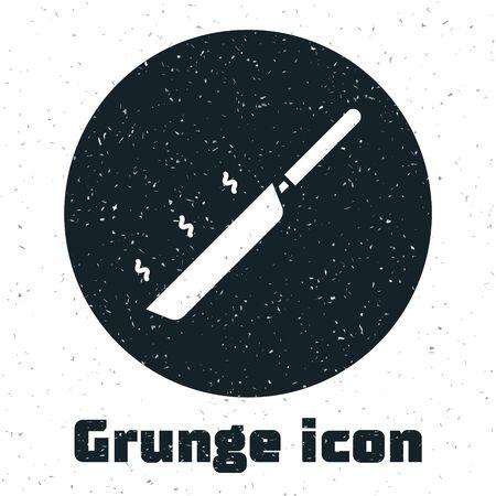 Grunge Frying pan icon isolated on white background. Fry or roast food symbol. Vector Illustration Illustration