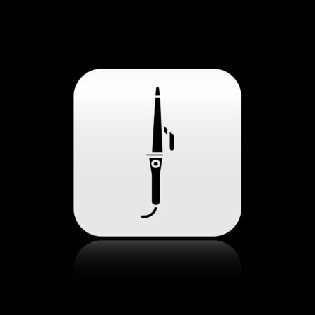 Black Curling iron for hair icon isolated on black background. Hair straightener icon. Silver square button. Vector Illustration