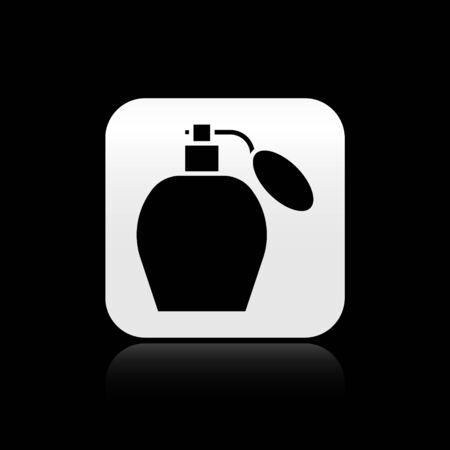 Black Perfume icon isolated on black background. Silver square button. Vector Illustration Illustration