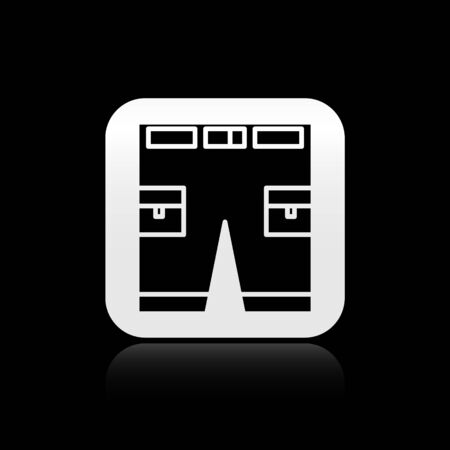 Black Short or pants icon isolated on black background. Silver square button. Vector Illustration