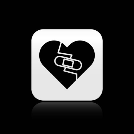 Black Healed broken heart or divorce icon isolated on black background. Shattered and patched heart. Love symbol. Valentines day. Silver square button. Vector Illustration
