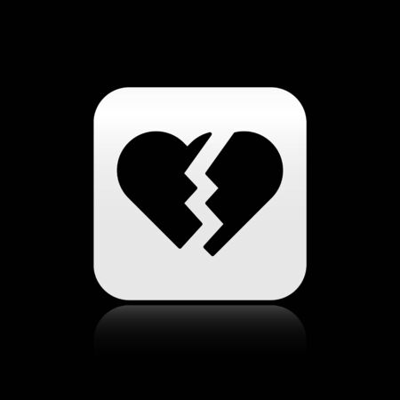 Black Broken heart or divorce icon isolated on black background. Love symbol. Valentines day. Silver square button. Vector Illustration