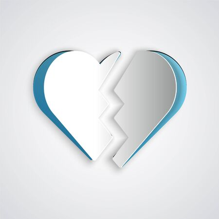 Paper cut Broken heart or divorce icon isolated on grey background. Love symbol. Valentines day. Paper art style. Vector Illustration Иллюстрация