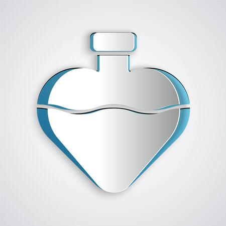 Paper cut Bottle with love potion icon isolated on grey background. Valentines day symbol. Paper art style. Vector Illustration