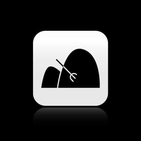 Black Bale of hay and rake icon isolated on black background. Silver square button. Vector Illustration Vettoriali