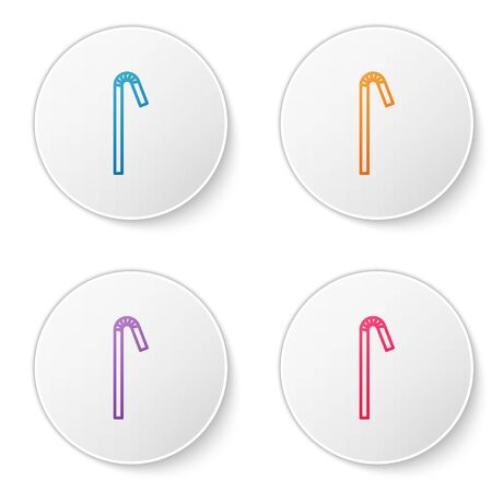 Color line Drinking plastic straw icon isolated on white background. Set icons in circle buttons. Vector Illustration