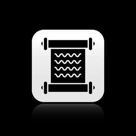 Black Decree, paper, parchment, scroll icon icon isolated on black background. Silver square button. Vector Illustration