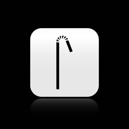 Black Drinking plastic straw icon isolated on black background. Silver square button. Vector Illustration Ilustração