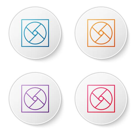 Color line Ventilation icon isolated on white background. Set icons in circle buttons. Vector Illustration