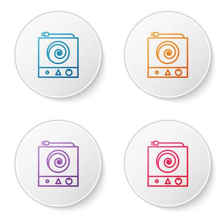 Color line Electric stove icon isolated on white background. Cooktop sign. Hob with four circle burners. Set icons in circle buttons. Vector Illustration